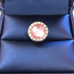 Pandora charm pink crystal new with mild defects